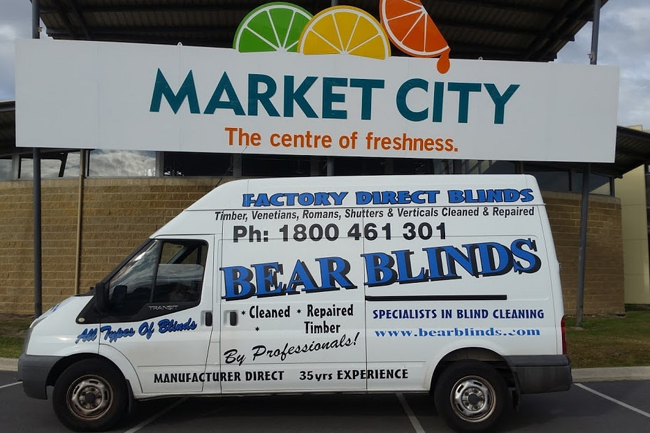 Canning vale bear blinds cleaning repair van parked at the market at canning vale